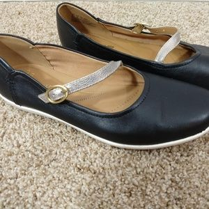 Clarks | Black Leather with Silver Strap Mary Jane